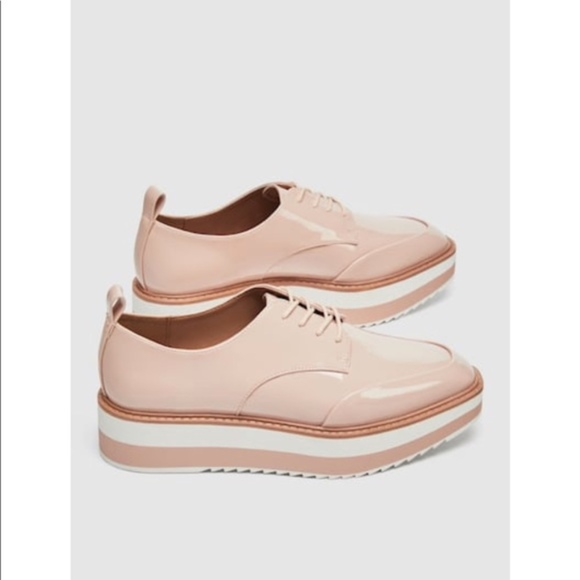 Zara Striped Platform Pink Lace Up Derby Shoes